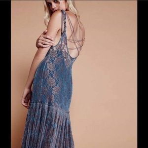 NWT Free People Blue Harlow Maxi Dress Size M